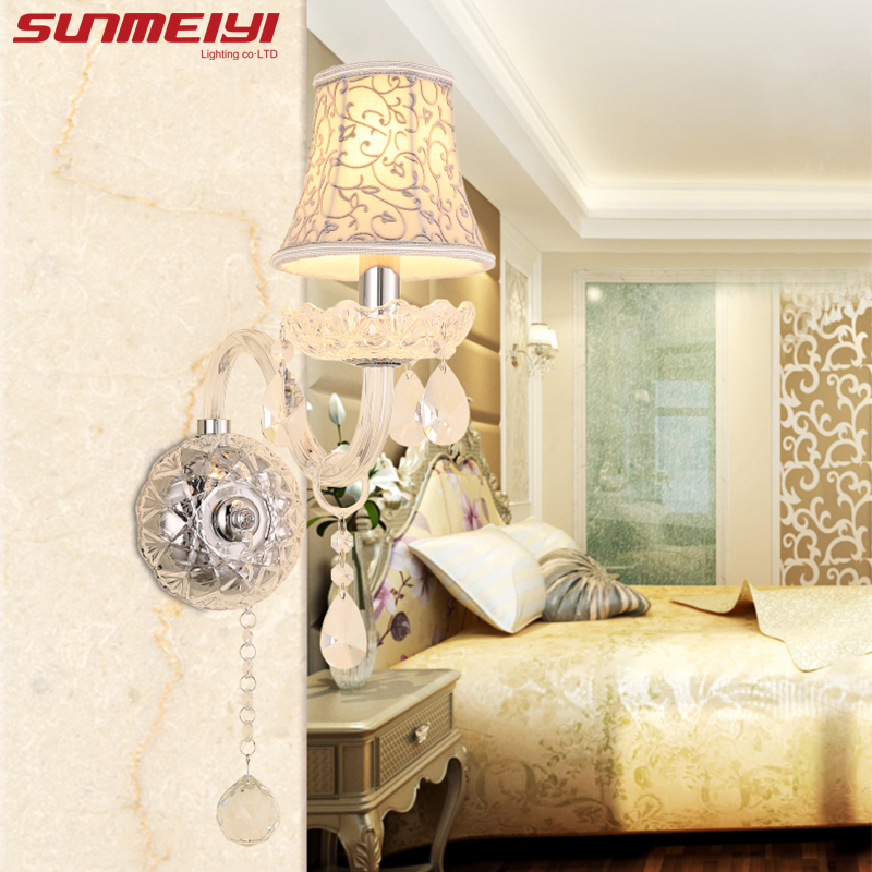 Modern Art Decor Crystal Wall Lamps European Style LED Sconce Living room Bedroom Corridor Aisle Light With Flowers Shade european style simple modern art small round wall lamp living room bedroom aisle study room sconce wall lights led aluminium