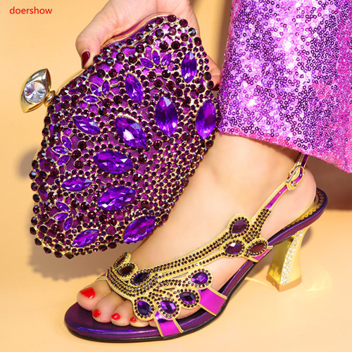 doershow Newest African Women Matching Italian Design Shoe and Bag Set for Wedding Italian Shoes with Matching Bag Italy SA1-46 doershow italian shoes with matching bag high quality italy shoe and bag set for wedding and party purple free shipping hv1 59