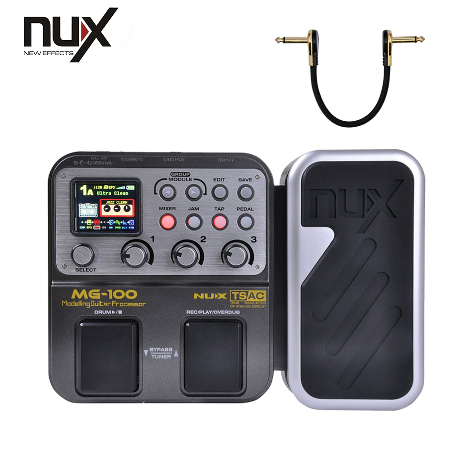 NUX MG-100 Guitar Multi-Effects Processor 6-Band Graphic EQ Multi-function Guitar Effect Pedal Free Shipping nux mg 20 electric guitar multi effects pedal guitarra modeling processor with drum machine eu plug