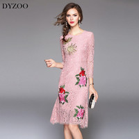 DYZOO New Fashion Mermaid Dress Women Party Dress Lace Floral Embroidery Vintage O Neck Hollow Out