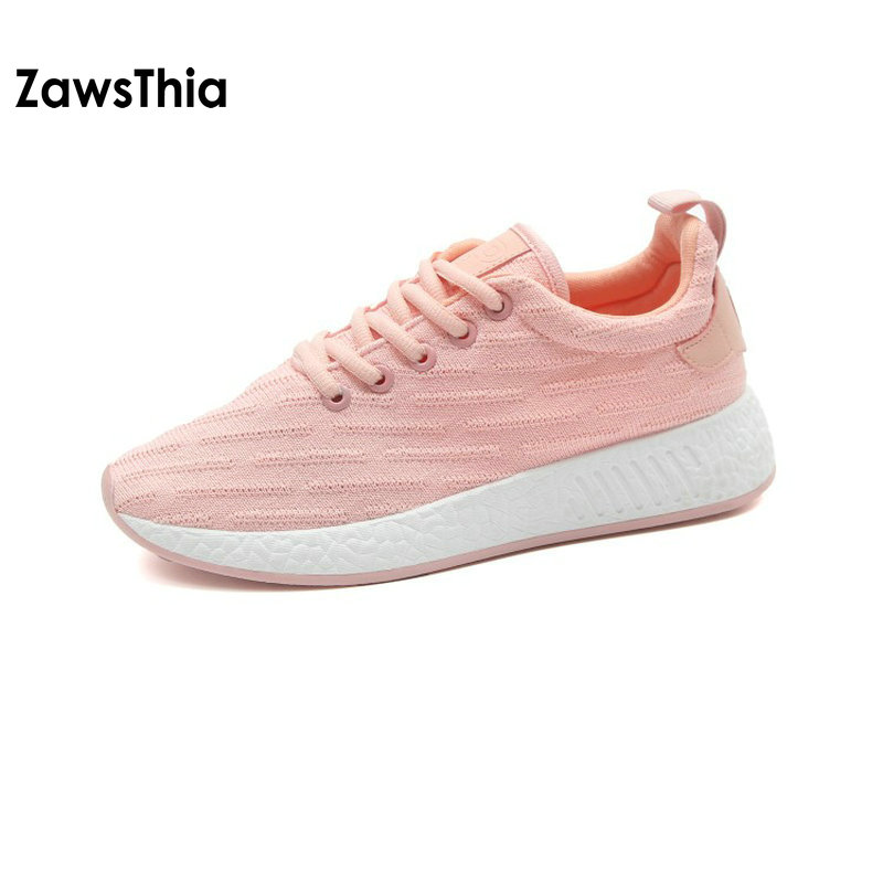 ZawsThia 2018 summer knit air mesh breathable lace up pink shoes lightweight female woman ladies zapatillas mujer sneakers women 2017brand sport mesh men running shoes athletic sneakers air breath increased within zapatillas deportivas trainers couple shoes