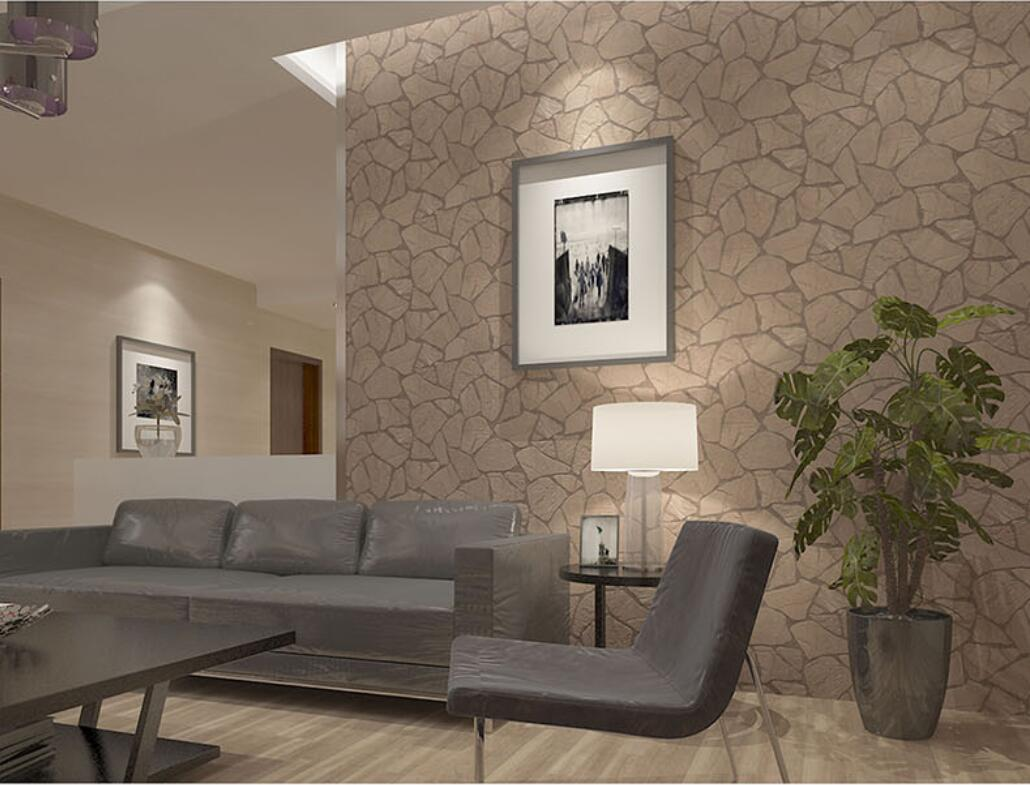 Pastoral 3d Brick Stone Wallpaper Gray Brown Stone Wallpaper Roll Italian Style Living Room