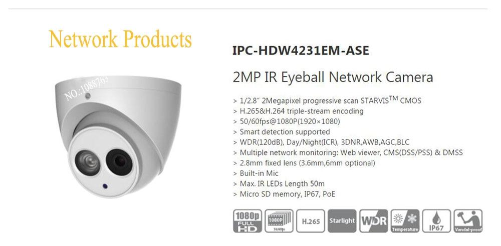 Free Shipping DAHUA Security IP Camera 2MP IR Eyeball Network Camera IP67 With POE without Logo IPC-HDW4231EM-ASE free shipping dahua cctv camera 4k 8mp wdr ir mini bullet network camera ip67 with poe without logo ipc hfw4831e se