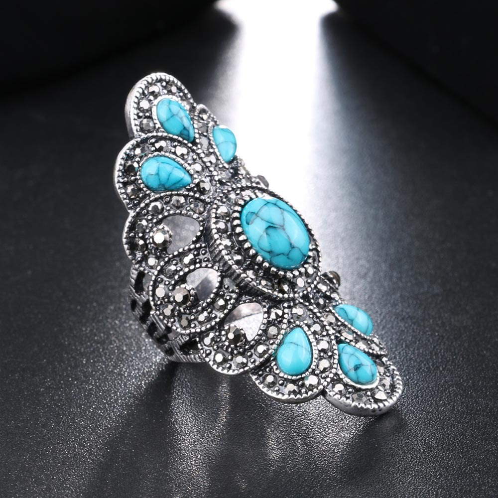 Utimtree Water Drop Blue Stone Women Vintage Rings Jewelry Hollow Out Design Retro Anniversary Party Finger Ring Accessory Lady