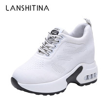 New Women Summer Mesh Platform Sneakers Trainers White Shoes 9.5CM High Heels Wedges Outdoor Shoes Breathable Casual Shoes Woman 2018 wedges sneakers for women casual shoes summer breathable mesh sneakers white platform shoes woman ladies shoes swing