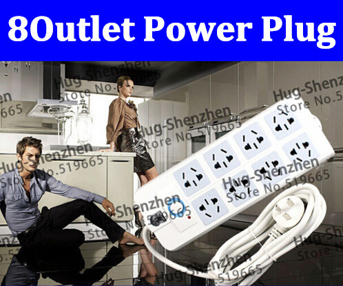 New Fashion Design!  8 Outlets Extension Socket Electrical Plug , power plug 2.8M free shipping power strip