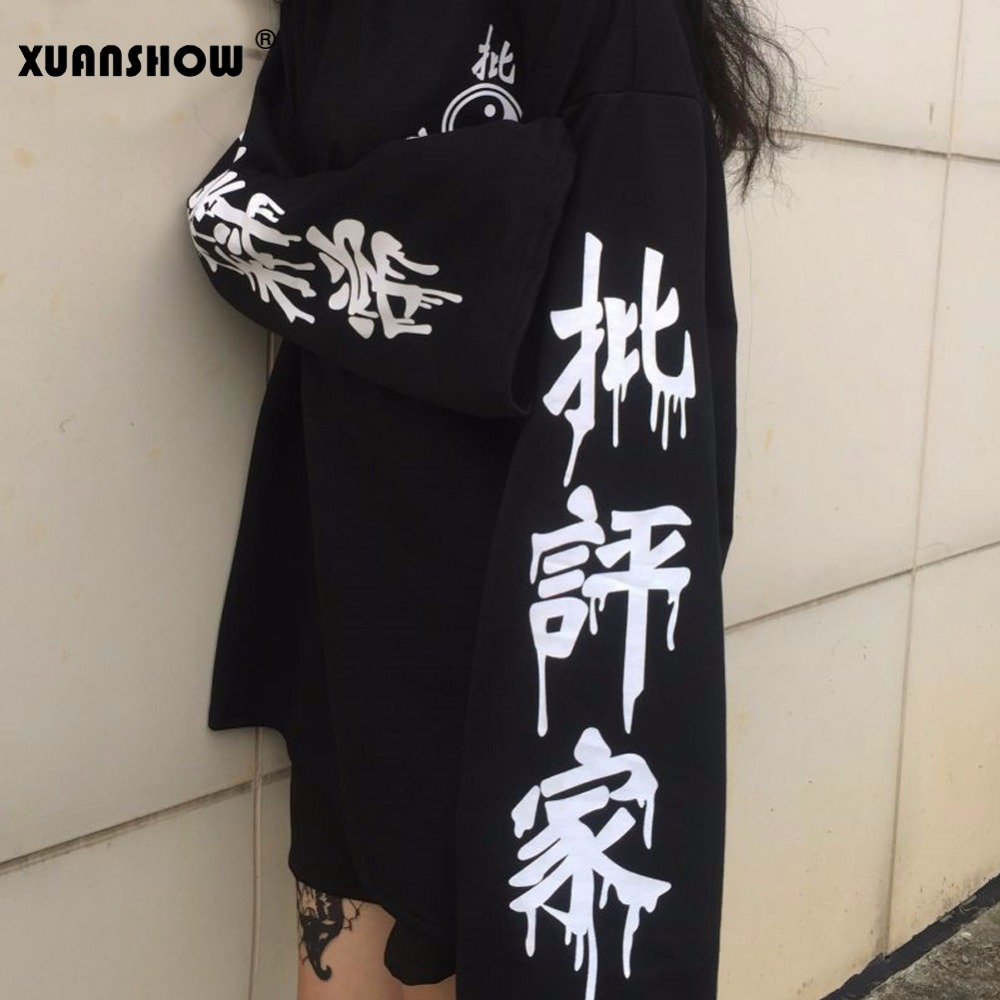 XUANSHOW Autumn Winter Oversize Harajuku Women's Sweatshirt 2018 New Fashion Technology Printed Punk Pullovers Female Moletom