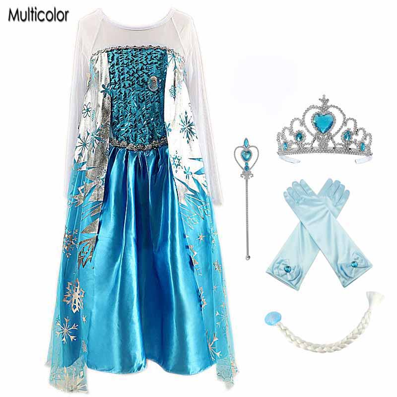 Multicolor High Quality girls sequins party princess dress For Girls Anna Elsa Elza Dress Kids Princess Wedding Party Dresses high quality fashion kids girls dresses elsa frosset dress costume princess anna party dresses for wedding vestidos kid 2 8 year