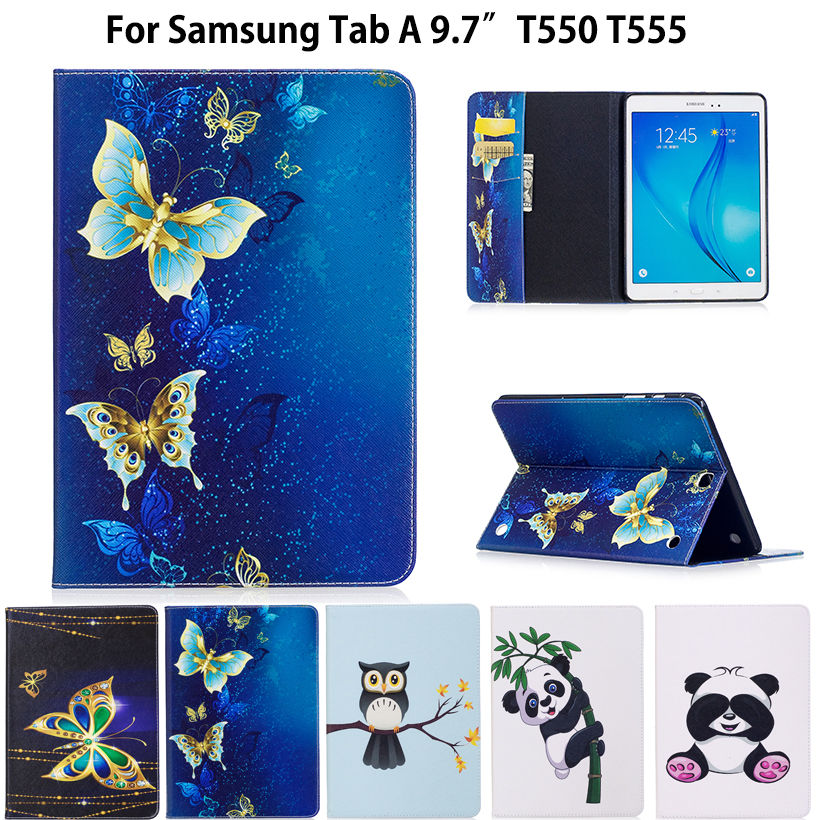 SM-T550 Mode Panda Motif Cas Pour Samsung Galaxy Tab Un 9.7 SM-T555 T550 P555 Smart Cover Cas Funda Tablet PU Stand Shell