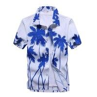 Ahkuci Hawaii Gömlek Mens 2017 Yaz Yeni Rahat Camisa Masculina Çiçek Baskılı Kısa Kollu Erkek Plaj Gömlek Artı Boyutu