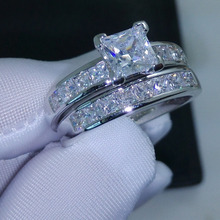 Choucong Wieck ценный принцесса огранка AAA CZ имитация камней 10KT белое золото заполненное Свадебное женское кольцо набор подарок Размер 5-11