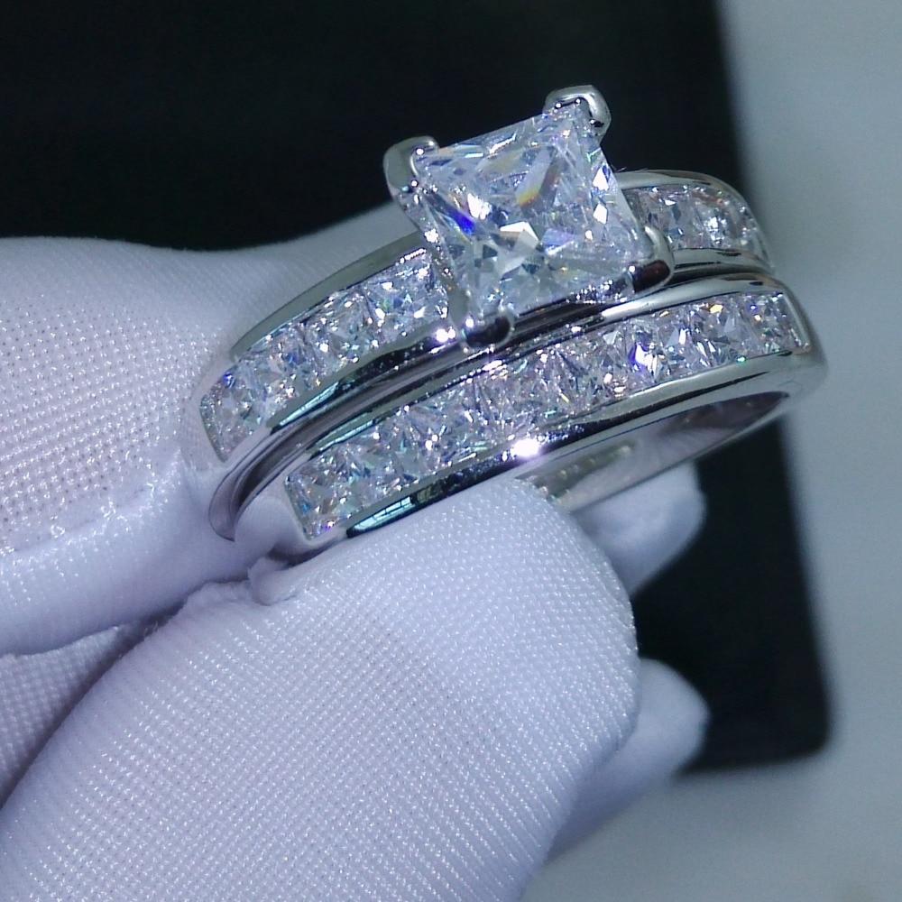 Victoria Wieck Valueable Princess Cut Topaz Simulated diamond 10KT White Gold