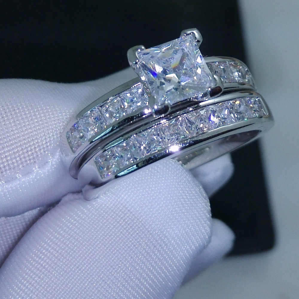 Wieck choucong Valueable Princess Cut AAA CZ pedras Simuladas 10KT Branco Gold Filled Tamanho 5 Dom Conjunto Anel de Casamento Das Mulheres -11