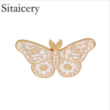 Sitaicery Enamel Pin Cartoon Butterfly Bee Brooch Kids Girls Clothes Accessories Black Yellow Birthday Gift Jewelry
