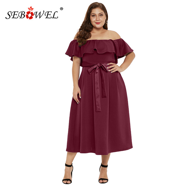 60d8f5a871d SEBOWEL Win Red Plus Size Ruched Off Shoulder Party Midi Dress Women s Sexy  Ruffles Slash Neck Sashes Long Shift Dresses 5XL