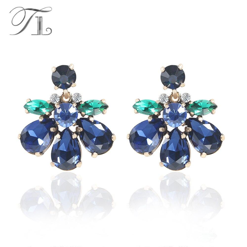 TL Bleu Foncé Boucles D'oreilles En cristal Vert et Bleu Cristal Spécial Bohême Style Boucles D'oreilles Pour Les Femmes Filles De Mariage D'anniversaire cadeaux