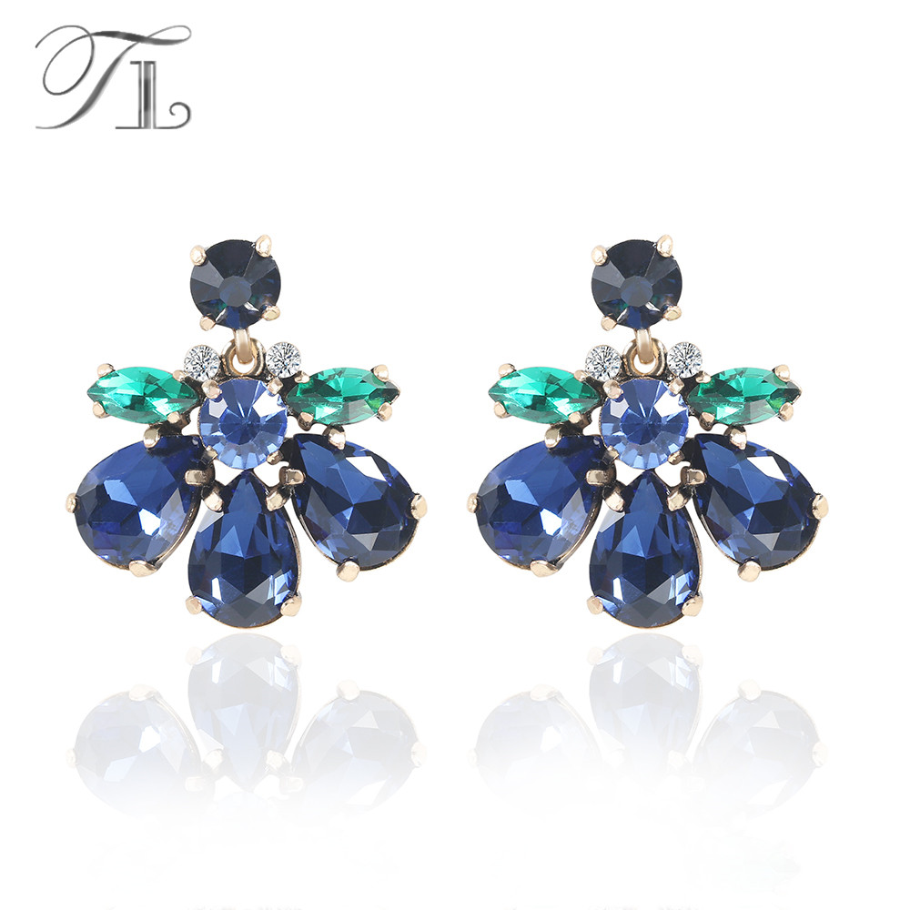 TL Dark Blue Crystal Earrings Made Of Green & Blue Crystal Special Bohemia Style Earrings For Women Girls Wedding Birthday Gifts pair of classic faux crystal tassels earrings for women