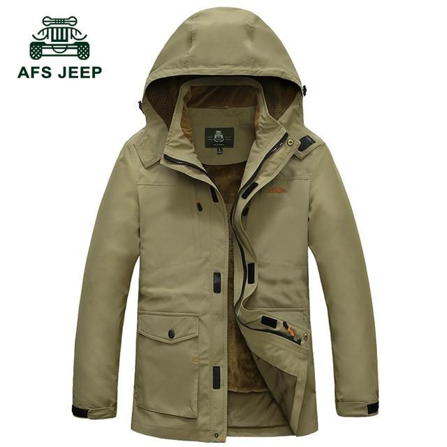 Parka Com Capuz De Pele do Inverno dos homens AFS JEEP Marca Plus Size Jaqueta Casaco grosso Quente Casual Além de Veludo À Prova de Vento Para-30 Graus