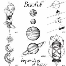 25 Design Universe Temporary Body Art Tattoo Space Planets Pencil Sketch Fake Tattoo Arms Legs Long Sleeve Tatoos Black Stickers(China)
