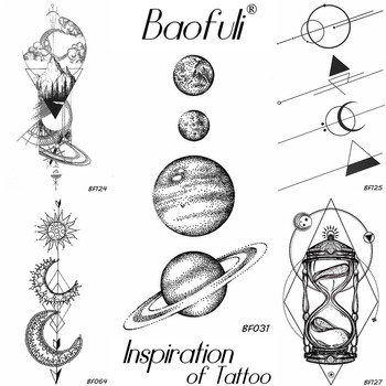 25 Design Universe Temporary Body Art Tattoo Space Planets Pencil Sketch Fake Tattoo Arms Legs Long Sleeve Tatoos Black Stickers