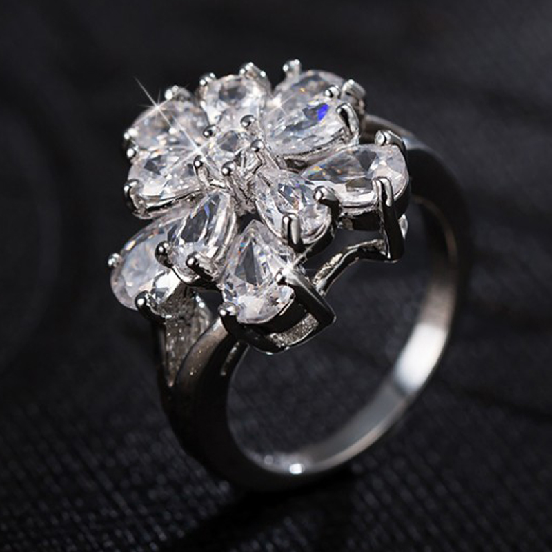 New Arrival Engagement Rings For Women Silver Color Jewelry Cz Crystal Zircon Flower Bague Size 7.5 Finger Ringen Gift ...