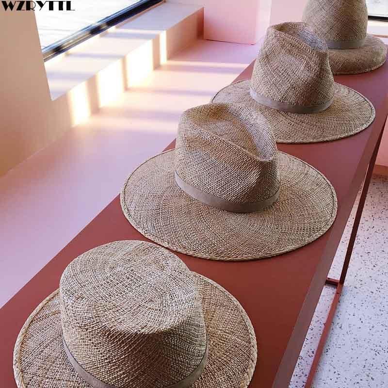 Classic Unisex Summer Hat For Men Women Handmade Cool Woven Straw Fedora Hat Stylish Sun Hat Beige Band Jazz Cap Kentucky Derby