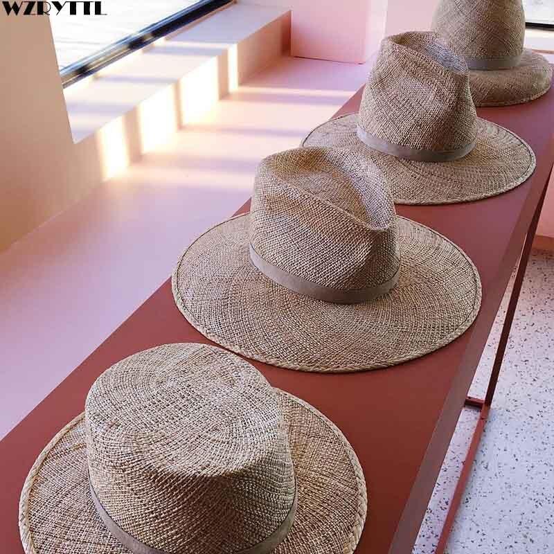 Classique unisexe été chapeau pour hommes femmes à la main Cool tissé paille Fedora chapeau élégant soleil chapeau Beige bande Jazz casquette Kentucky Derby