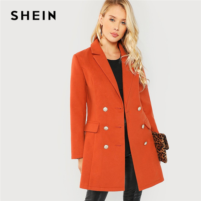 447850cd81f SHEIN Brown Office Lady Elegant Double Breasted Notched Neck Fashion Solid  Coat 2018 Autumn Workwear Women Coats Outerwear