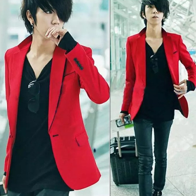 2017 Men Winter Wedding Suit Korean Slim Mens Suit Infrared Skinny Blazer Red Men Slim Suit Coat