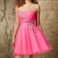 2016 Fashion Short Prom Dresses Hot Pink Sweetheart Sleeveless Cocktail Dress CP 6 Appliqued Flower Women