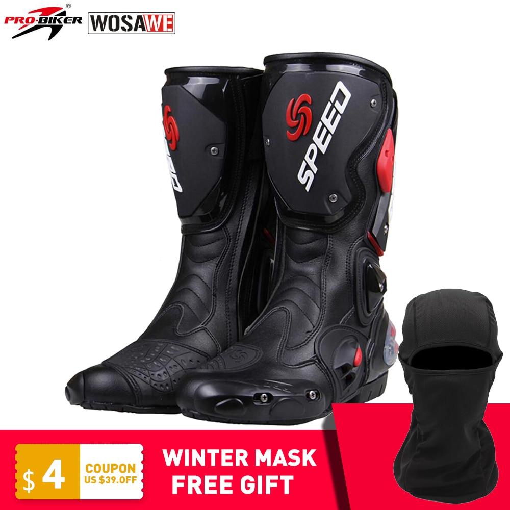 PRO BIKER SPEED Motorcycle Boots Drop Resistance Waterproof Racing Motocross Off Road Motorbike Shoes Moto Biker