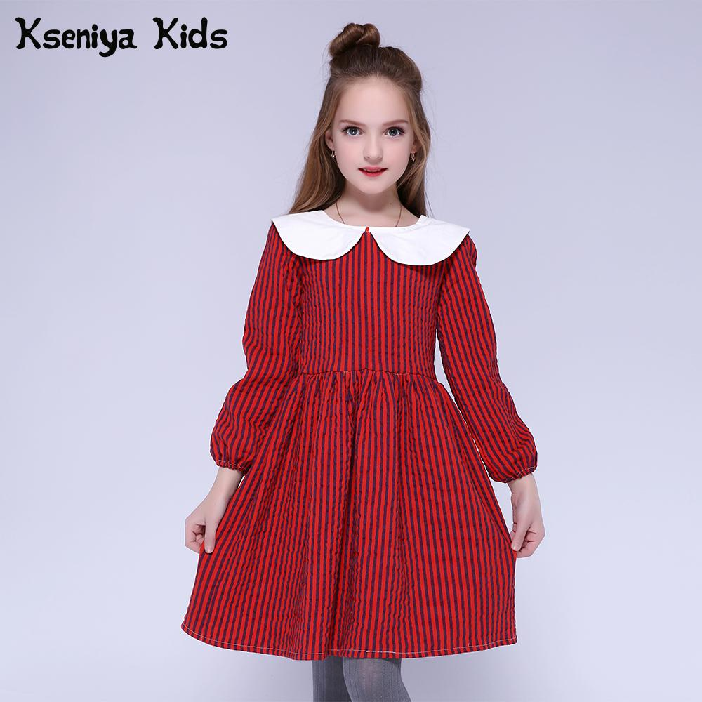 Girls Autumn Winter Stripped Tutu Flower Long Sleeve  Party Dresses