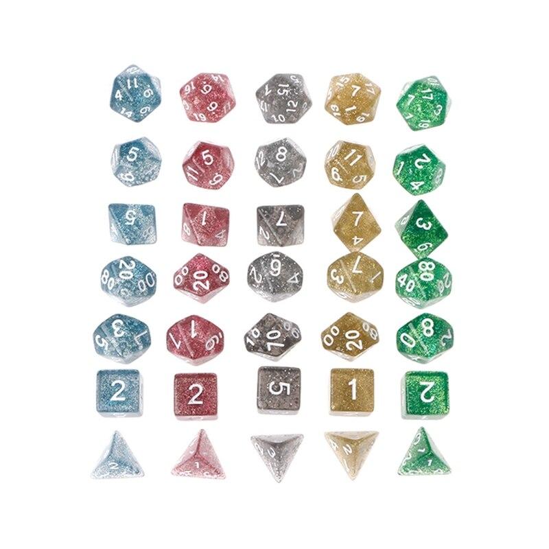 Twinkling Polyhedral Dice For Dragon Pathfinder D20 D12 D10 D10%  D8 D6 D4 7pcs/set  Dices