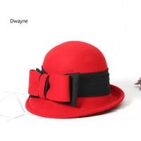 צמר הרגיש דלי כובע כובע חורף נשים 2017 גבירותיי האופנה Pure צמר תקליטונים קלושים כובעי נשים Bowknot צמר סתיו חאקי אדום שחור