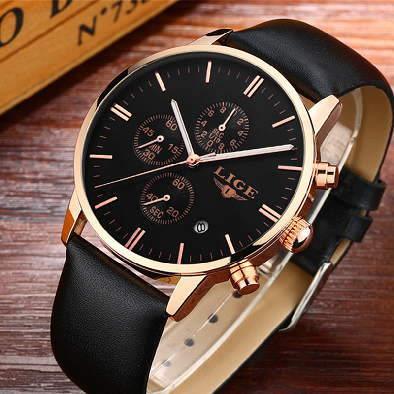 LIGE Brand  Watches men luxury fashion casual leather Quartz watch men clock sports business wristwatch Dive relogio masculino new listing pagani men watch luxury brand watches quartz clock fashion leather belts watch cheap sports wristwatch relogio male