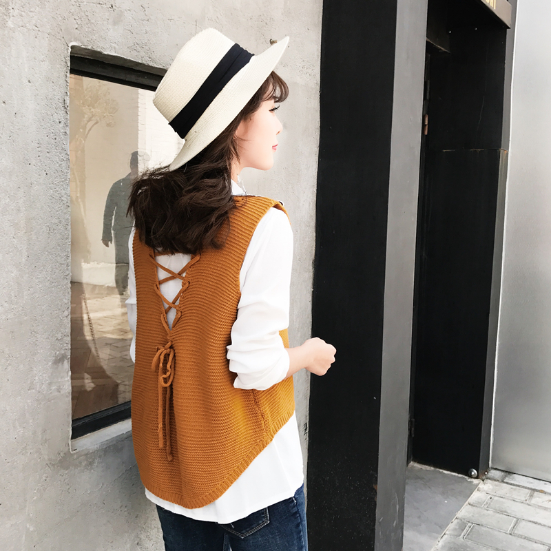Casual women sleeveless Sweater female spring autumn vest knitted pullover bandage V-neck solid color short design waistcoat ...