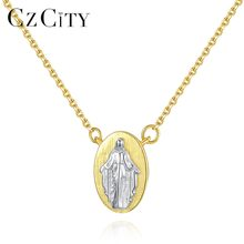 c9b924536091 CZCITY religiosos Virgen María colgante de collar para las mujeres 925  plata esterlina Medallón de Oro collar de la joyería cató.