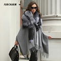Cashmere Shawls and Scarves with Genuine Silver Fox Fur Collar Scarf Women Luxury Ponchos and Capes Real Fur Shawls and Wraps