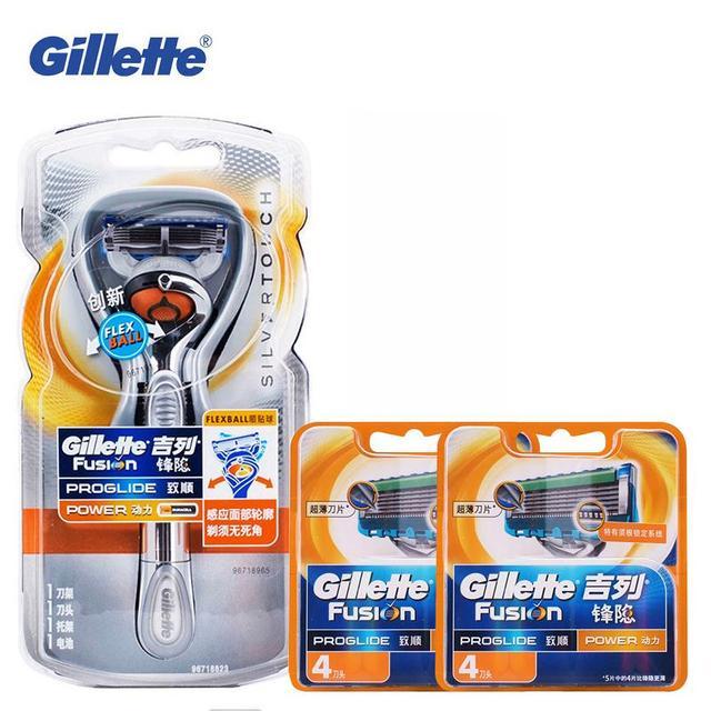 Maquinilla de afeitar eléctrica original de afeitar gillette fusion power (1 mango 9 hojas) de seguridad de afeitar las hojas de afeitar maquinilla de afeitar recta
