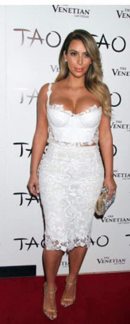 Sexy Kim Kardashian Two piece Knitted White Lace Dresses 2