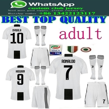 da8ec0ef18a best quality 2018 Serie A patch Juventuses adult kit+sock RONALDO DYBALA 18  19 soccer jersey Men football shirt Free shipping