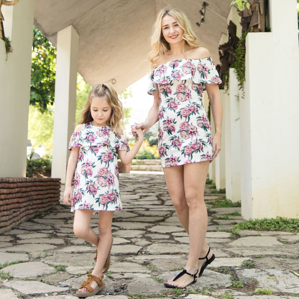 3c4114d33883d 2019 PPXX Rose Floral Girl Women Dress Ruffle Off Shoulder Mother Daughter  Dresses Wedding Party Beach Family Matching outfit