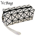 Brand Women Makeup Bag Creative Geometry White Black Pu Leather Cosmetic Bag Cute Trolley Travel Vanity Beauty Make Up Organier