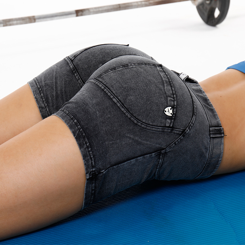 AK's hand denim low waist short wholesale fitness clothing gym shorts womans yoga shorts in stock forever fashion buff rips details denim shorts in black