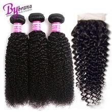 Бразильские вьющиеся пучки вьющихся волос с закрытием Реми Плетение человеческих волос с закрытием