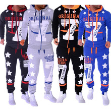 Fashion Sportswear Men Jogger Set 2 Piece Sweat Suit Casual Printed Hooded Sweatshirts And Pants  running Tracksuit