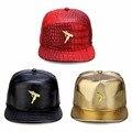 Moda de nova Mens Arma Hip Hop Bonés de Beisebol de Couro PU Unisex Ocasional Ao Ar Livre Chapéus Ouro/Preto Snapback