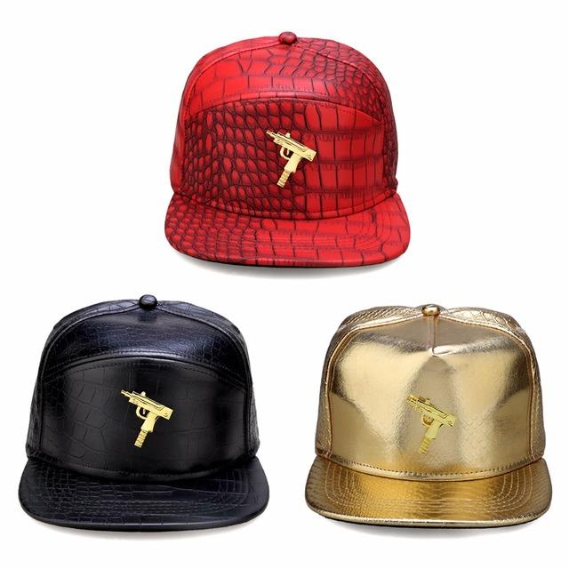 Nueva Pistola de Moda Para Hombre de Hip Hop Gorras de Béisbol de LA PU de Cuero Ocasional Unisex Al Aire Libre Sombreros de Oro/Negro Snapback