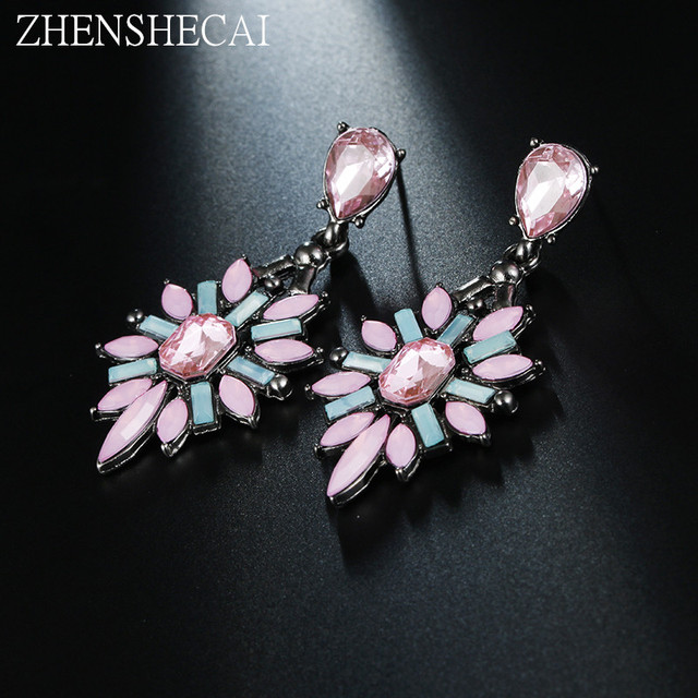 09d998eed Natural Crystal Drop Water Flower Earrings Long Earrings Fashion Jewelry  Accessories Vintage Women's gift high quality