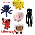 6pcs/lot Minecraft Game Plush Stuffed Toys Minecraft Sheep Enderman Squid Ocelot Pig Soft Plush Toys Kids Cartoon Game Toys Gift